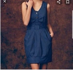 Anthropologie Maeve Fifth Form Blue Striped Dress